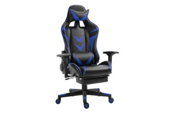 Luxo Turbo Gaming Chair with Foot Rest - Blue