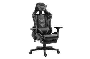 Luxo Turbo Gaming Chair with Foot Rest - Grey
