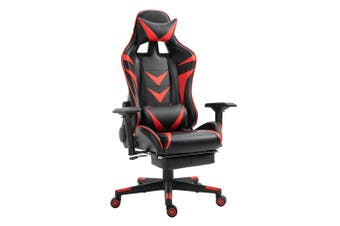 Luxo Turbo Gaming Chair with Foot Rest - Red