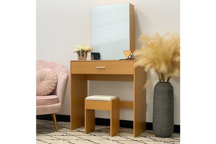 Victoria Dressing Table with Sliding Mirror - Natural