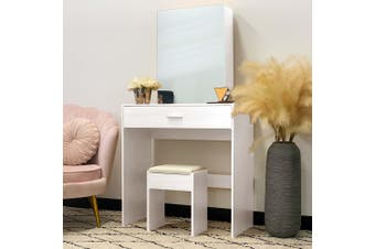 Victoria Dressing Table with Sliding Mirror - White