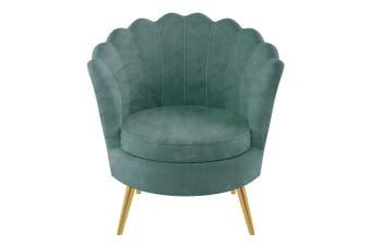 The DIY Decorator Chantal Scallop Velvet Chair - Duck Egg Blue