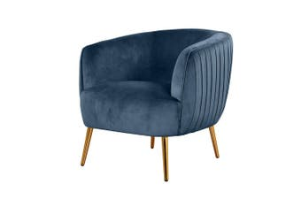 Evelyn Velvet Sofa Accent Chair - Blue