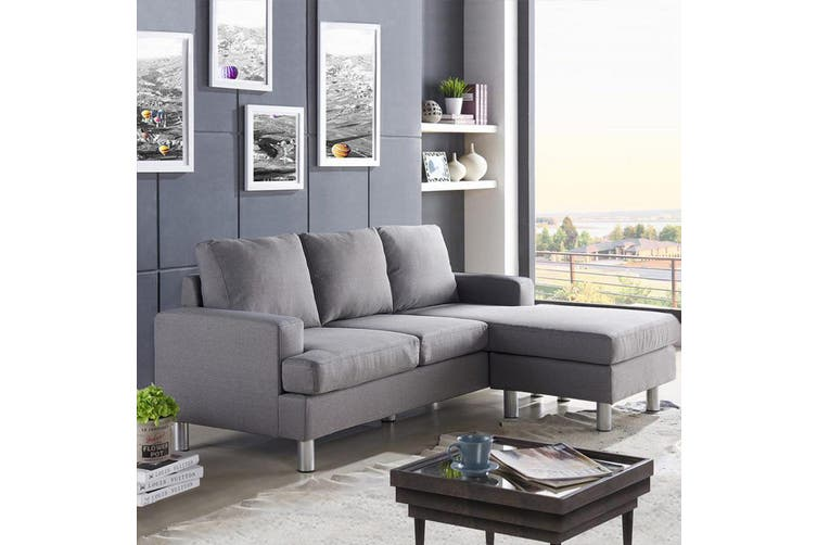 Luxo Lambeth 3 Seater Corner Chaise Sofa - Grey