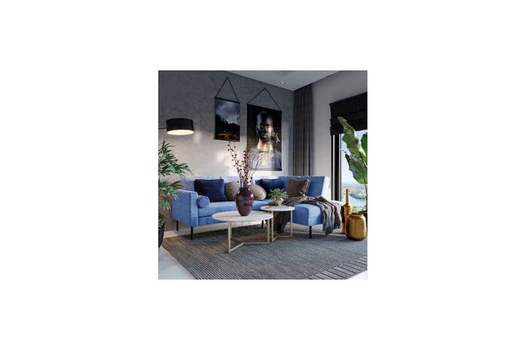 Sarna 3 Seater Fabric Modular Sofa with Chaise - Blue