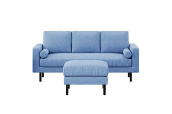 Sikas 3 Seater Fabric Sofa & Ottoman - Blue