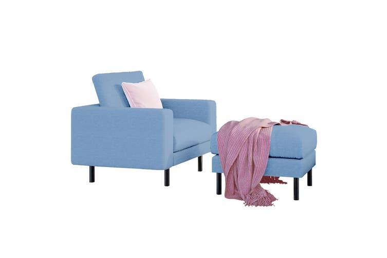Sikas Fabric Armchair & Ottoman - Blue