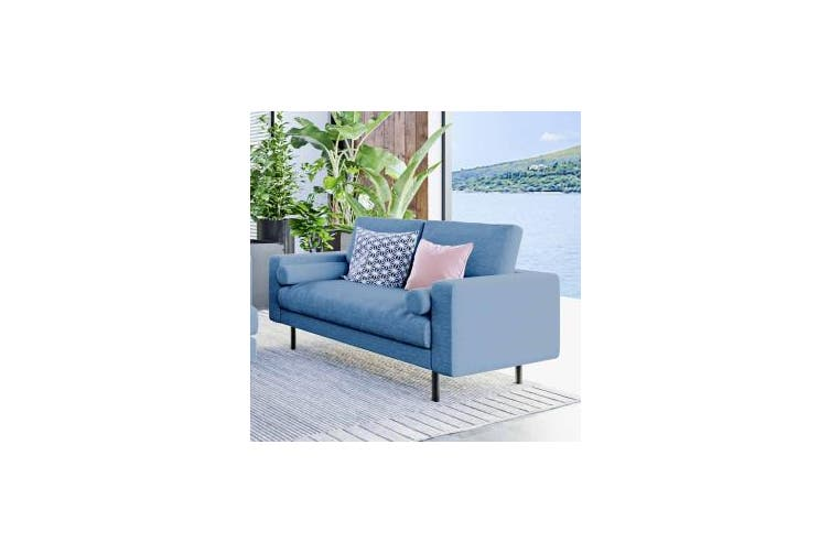 Sikas Two Seater Fabric Sofa - Blue