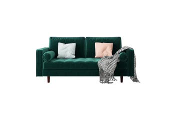 Sollia 3 Seater Velvet Sofa - Dark Forest Green