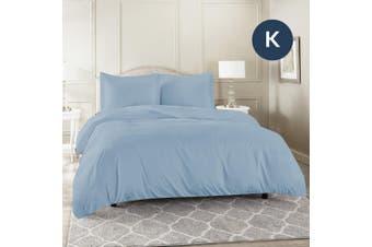 King Size Sky Color 1000TC 100% Cotton Quilt/Doona Cover Pillowcase Set
