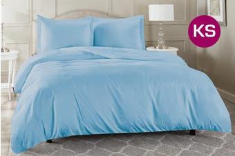King Single Size Aqua Color 1000TC 100% Cotton Quilt/Doona Cover Pillowcase Set