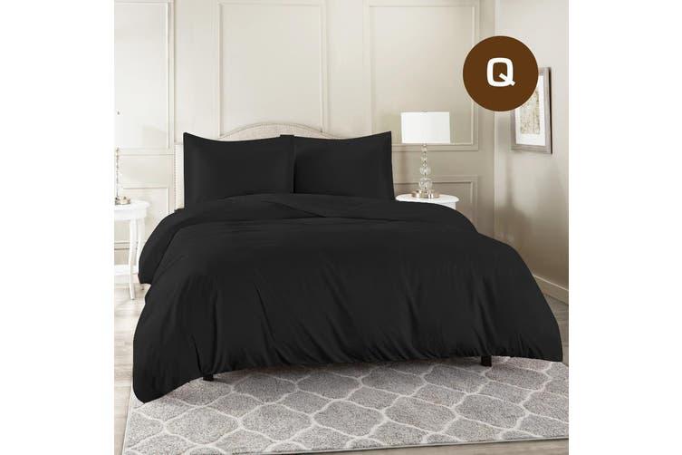 Queen Size Black Color 1000TC 100% Cotton Quilt/Doona Cover Pillowcase Set