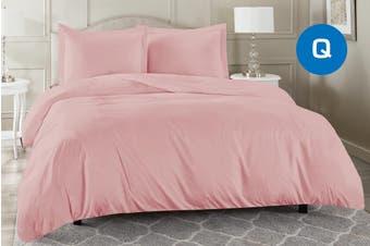 Queen Size Blush Color 1000TC 100% Cotton Quilt/Doona Cover Pillowcase Set
