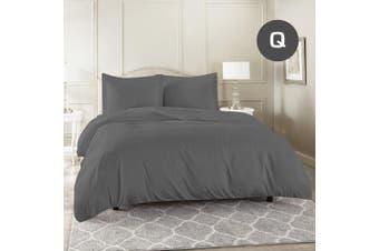 Queen Size Grey Color 1000TC 100% Cotton Quilt/Doona Cover Pillowcase Set