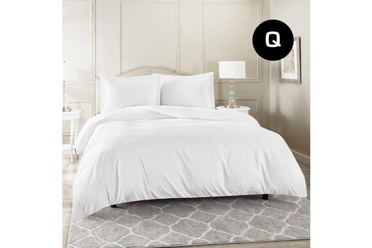 Queen Size White Color 1000TC 100% Cotton Quilt/Doona Cover Pillowcase Set