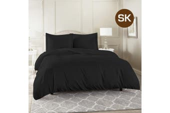 Super King Size Black Color 1000TC 100% Cotton Quilt/Doona Cover Pillowcase Set
