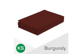 King Single Size Burgundy 1000TC Egyptian Cotton Fitted Sheet + Pillowcase(NO Flat Sheet)