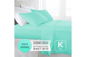 King Size Aquamarine 1000TC Egyptian Cotton Sheet Set