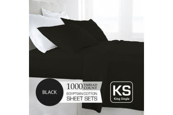 King Single Size Black 1000TC Egyptian Cotton Sheet Set