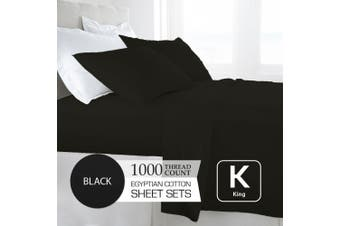 King Size Black 1000TC Egyptian Cotton Sheet Set