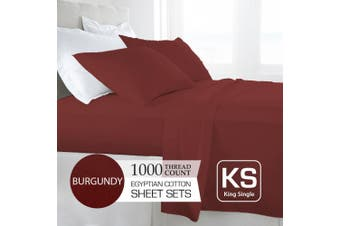 King Single Size Burgundy 1000TC Egyptian Cotton Sheet Set