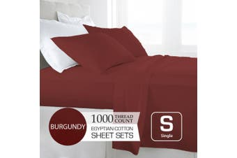 Single Size Burgundy 1000TC Egyptian Cotton Sheet Set