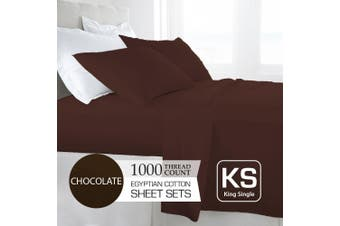 King Single Size Chocolate 1000TC Egyptian Cotton Sheet Set