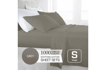 Single Size Grey 1000TC Egyptian Cotton Sheet Set
