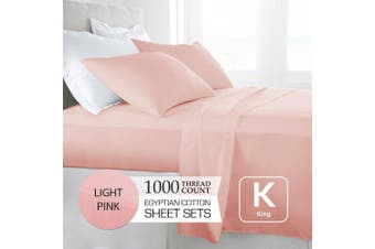 King Size Light Pink 1000TC Egyptian Cotton Sheet Set