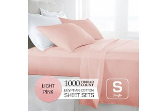 Single Size Light Pink 1000TC Egyptian Cotton Sheet Set