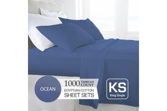 King Single Size Ocean 1000TC Egyptian Cotton Sheet Set