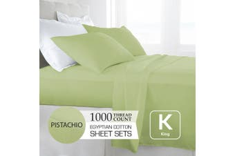 King Size Pistachio 1000TC Egyptian Cotton Sheet Set