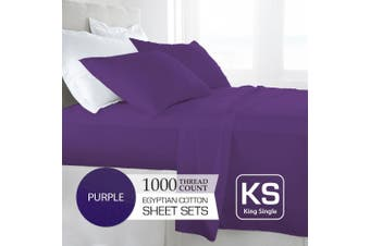 King Single Size Purple 1000TC Egyptian Cotton Sheet Set