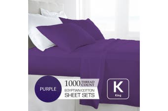 King Size Purple 1000TC Egyptian Cotton Sheet Set