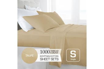Single Size Taupe 1000TC Egyptian Cotton Sheet Set