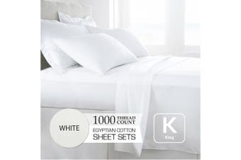 King Size White 1000TC Egyptian Cotton Sheet Set