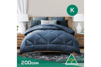 King Size Aus Made Summer Weight Soft Bamboo Blend Quilt Blue Cover
