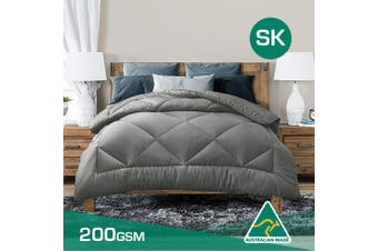 Super King Size Aus Made Summer Weight Soft Bamboo Blend Quilt Grey Cover