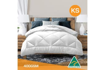 King Single Size Aus Made All Season Soft Bamboo Blend Quilt White Cover