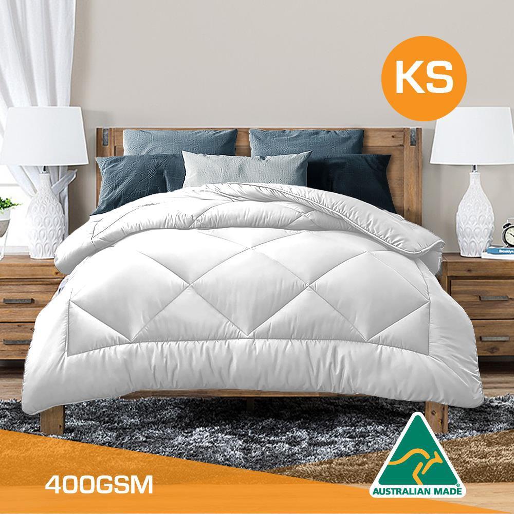 King Single Size Aus Made All Season Soft Bamboo Blend Quilt White Cover Kogan Com