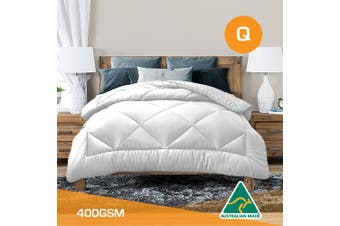 Queen Size Aus Made All Season Soft Bamboo Blend Quilt White Cover