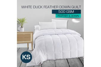 King Single 500GSM 50/50 White Duck Down Feather Quilt-Winter Weight
