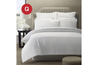 Queen Size 5 Star Hotel Quality 2CM WHITE STRIPE Luxury Quilt/Doona/Duvet Cover Set
