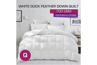 Queen Size 700GSM Ultra Warm White Duck Down Feather Quilt-Winter Weight