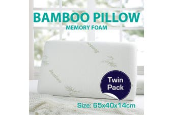 Twin Pack Bamboo Memory Foam Fabric Fibre Cover Standard Pillows