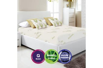 Bamboo Print Fully Fitted Mattress Protector -Queen