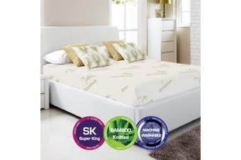 Bamboo Print Fully Fitted Mattress Protector -Super King