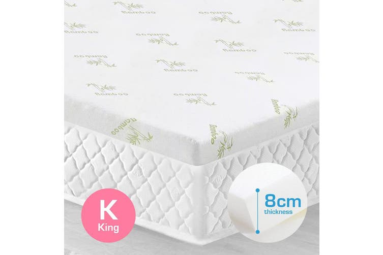 King Size 8cm Bamboo Fabric Memory Foam Mattress Topper Protector Fabric Cover
