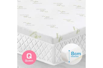 Queen Size 8cm Bamboo Fabric Memory Foam Mattress Topper Protector Fabric Cover