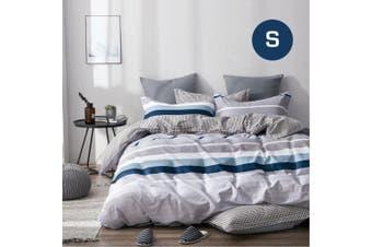 Single Size Blue Mind Design Cotton Quilt Cover Set